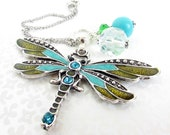 Dragonfly Rear View Mirror Charm, Car Dangle, Car Ornament Dangle, Car Accessories, Crystal Car Charm, Teen Gift, New Driver Gift, CC12
