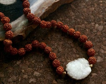 Hand-knotted Silk Necklace with Rudraksha Beads and White Druzy