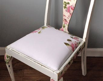 White Painted Chair with Pink Vintage Cabbage Rose Detailing