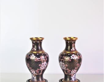 Vintage Pair of Cloisonne Vases