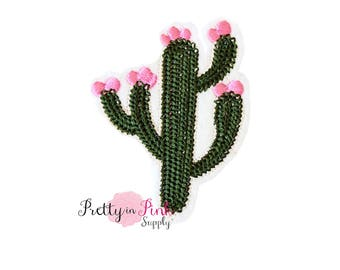 Blooming Cactus Iron On Patch Embellishment - Applique- Embellishment- DIY Headband Supply-  applique - patch - Embroidered Patches