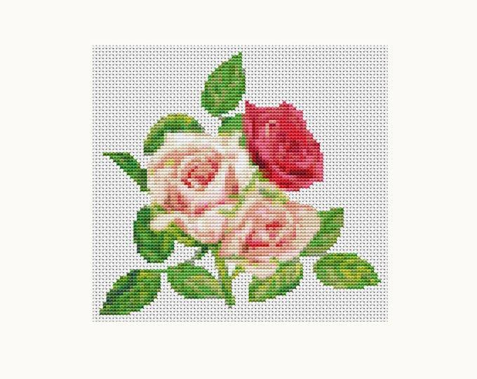 Mini Cross Stitch Pattern PDF, Embroidery Chart, Art Cross Stitch, Floral Cross Stitch, A Trio of Pink Roses (TAS124)