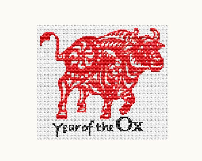 Year of the Ox, Chinese Zodiac Cross Stitch, Art Cross Stitch (TAS114)
