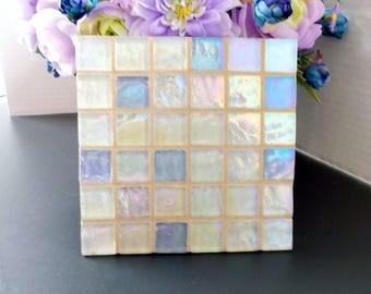 "Blue White Wavy Glass Mosaic Tile Trivet 6"" x 6"""