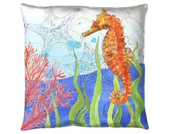 """Oceana - Seahorse : 18x18"""" indoor outdoor throw pillow"""