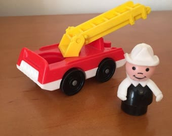 Vintage Fisher-Price Little People Fireman with Fire Truck