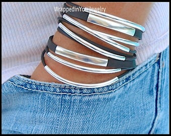 WRAP Bracelet - Boho Leather Wrap Bracelet - Adjustable Genuine Leather Cords Tubes Triple Wrap Around w/ Movable Silver Focal Beads