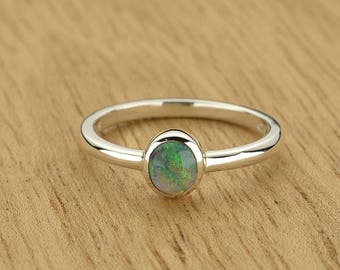 0.30ct Semi-Black Opal Ring in 925 Sterling Silver Size 4.5 SKU: 1979B005-925