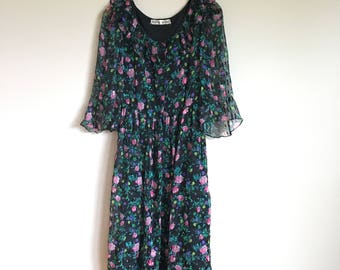 Hanae Mori Silk Chiffon 1980's Floral Dress