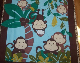 Monkey Fabric Panel (Set of 2) - Monkey Quilt Panel - Monkey Baby Blanket Panel - Monkey Baby Fabric - Monkey Quilt Kit Brown Backing Fabric