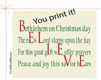 Christmas Printable Wall Art Christian Printable Art Religious Christmas Decor Religious Housewarming Gift Christian Poem 8x10