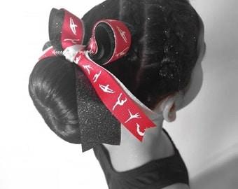 Gymnastics Bow, Red Gymnastic Hair Clip, Gymnastics Red Black Silver Sparkly Ribbon Bow, Gymnast Ties Elastic, Dance Lyrical US Team Gym Bow