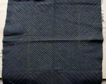 Sashiko Fabric / Japanese Vintage Fabric #021 - Black Vintage Fabric
