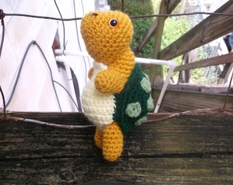 Crochet turtle, turtle amigurumi, yellow and green turtle, turtle toy, ready to ship
