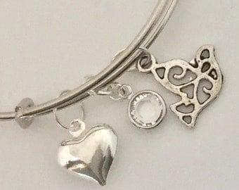 NEW-make a wish bangle- dove adjustable bracelet-birthstone charm bracelet by Ashley3535