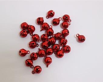 30 metallic red 8mm brass bells pendants