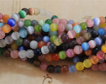 a wire for 65 6mm multicolor cat's eye glass beads
