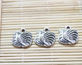 25 charms antique silver hollow pendant