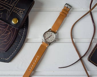 Horse Fronts Glazed Italian Leather Watch Strap Natural Color 18mm, 20mm, 22mm (Free Shipping)