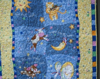 ON SALE Hey Diddle Diddle: The Cat and The Fiddle - The Cow Jumped Over the Moon Nursery Rhyme Crib Nursery Cot Toddler Playmat Traditional