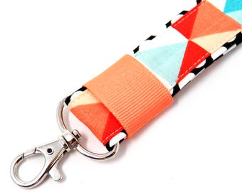 Triangles and circles wristlet strap keychain, key wrist strap, wrist lanyard, womens key holder, coral and turquoise key fob