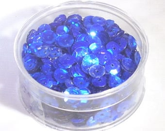 Box of 20gr of sequins or glitter flat Royal Blue sewing