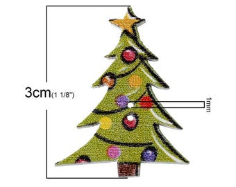 Set of 6 buttons 3 cm tall Christmas tree wooden