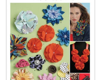 Fabric Flowers and Rosettes Pattern by McCall's Fashion Accessories M6047