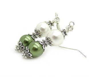 Olive Pearl Drop Earrings, Green Bridesmaid Earrings, Pearl Wedding Sets, Bridal Party Gifts, Olive Green Wedding, Pearl Dangles