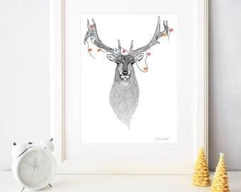 A3 Animal Wall Art // Art Print of my original elk stippling drawing // Stippling illustration // Wall decor