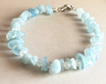 Natural Aquamarine and Moonstone Bracelet