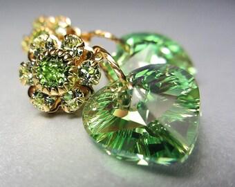 Swarovski Peridot Earrings August Birthstone Earrings Light Green Earrings Peridot Heart Earrings Post Earrings Gold Earrings Gift for Her