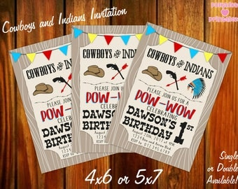 Cowboys and Indians Birthday Party Invitation 4x6 or 5x7 Printable Digital File