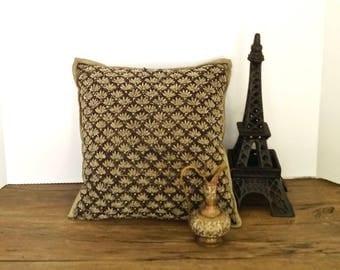 vintage MACY'S toss cushion black sparkle old Hollywood glam