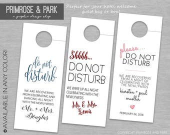 Wedding Do Not Disturb Tags Printed // Do Not Disturb Sign // Wedding Welcome Bag // Do Not Knock // Hotel Welcome Bag