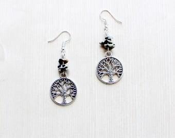 Tree of Life Earrings in Sterling Silver Dalmatian Jasper
