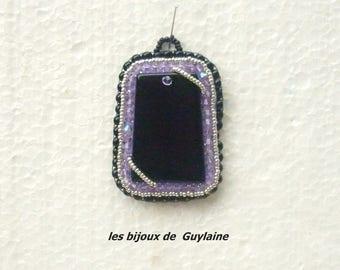 Embroidered stone agate black crystal purple