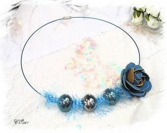 Blue fur collar flower leatherette CO561