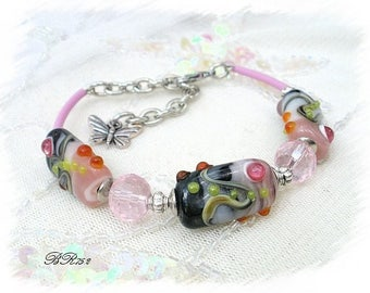 Bracelet beads handmade lampwork pink and gray BR752