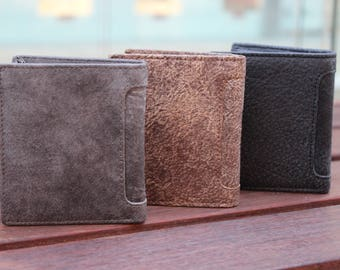 Men's Small Slim Trifold Africa Soft Leather Wallet ID Window Cards Coins Bill Gift 41218