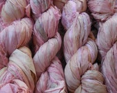 Spring Sale SALE 50 Yards,  Light Pink with some Ecru,  Sari Silk Ribbon  Skein,  Fair Trade from India