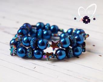 Little Girls Handmade Blue Star Beaded Bracelet |  Little Girls Jewelry | Star Bracelet | Little Girls Gift | Beaded Bracelet | Star Jewelry