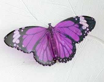 Tiger purple butterfly big brooch, transparent. In gift box. Statement & unique.  Made in UK.