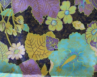 Vintage 1970s Silk Fabric: Navy, Turquoise, Lavender, and Chartruese Tropical/Hawaiian Print with Hibiscus Flowers- 8 Yards!