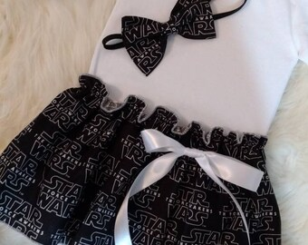 Star Wars Baby Dress with Matching Headband - Baby dress, Star Wars baby, Bodysuit dress, Baby gift, Photoshoot dress