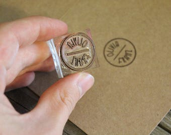 Custom Rubber Stamp (12mm x 12mm)  - CLASSIC WOODEN HANDLE