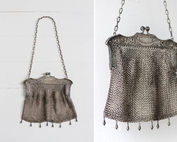 1900s antique mesh purse | art nouveau chain mail purse | victorian silver mesh purse | 1910s edwardian purse