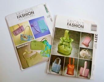 Destash Lot Fancy Purses Bags Clutches Sewing Patterns - Evening, Wedding, Prom - McCalls 4852, 3271 BOTH UNCUT