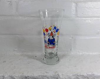 Spuds Mackenzie pilsner beer glass vintahe mug 12oz glassware barware drinkware single party Animal Budweiser Busch