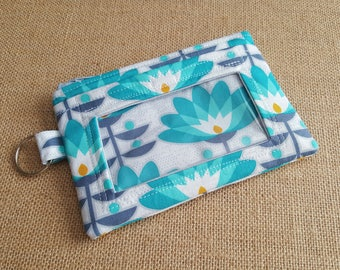 Blue Floral ID Wallet / Keychain ID Wallet / ID Holder